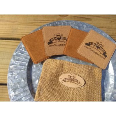 4 pack coaster set with a burlap sack